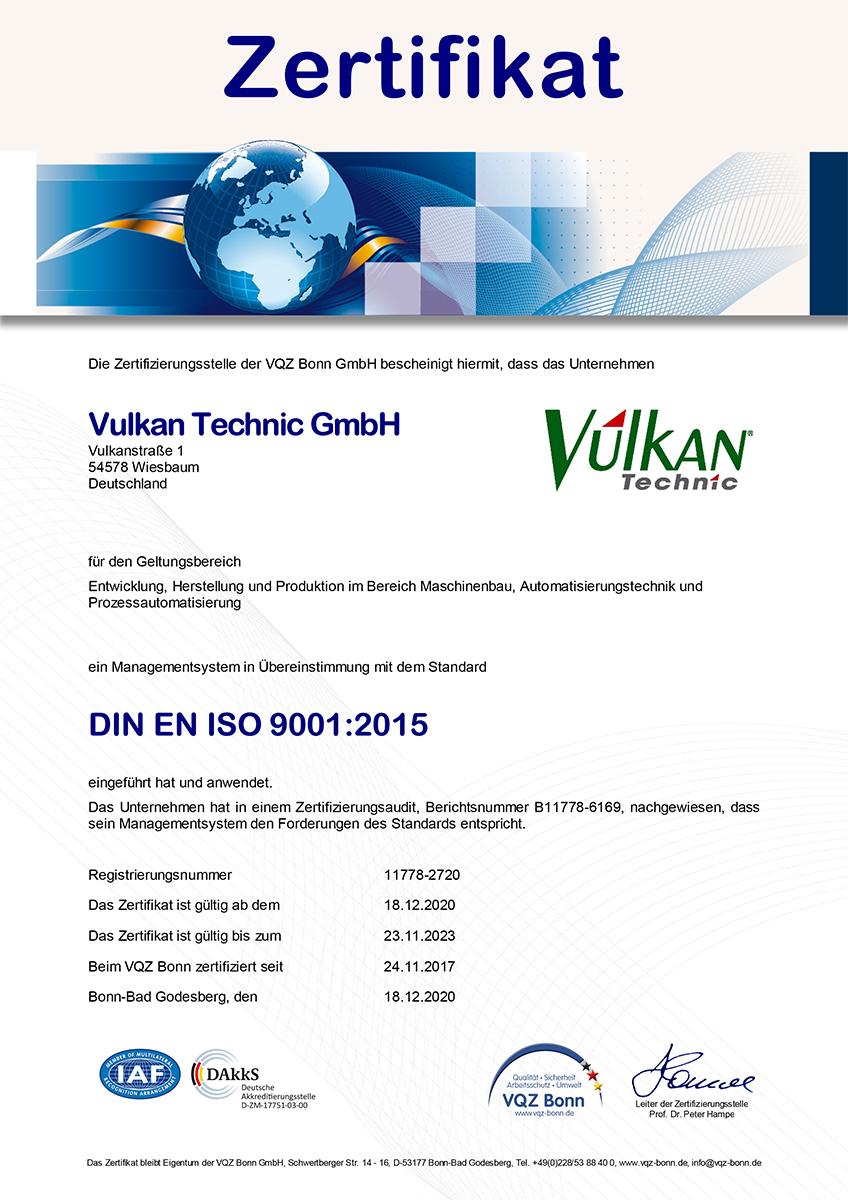 Zertifikat VQZ Bonn ISO 9001:2015